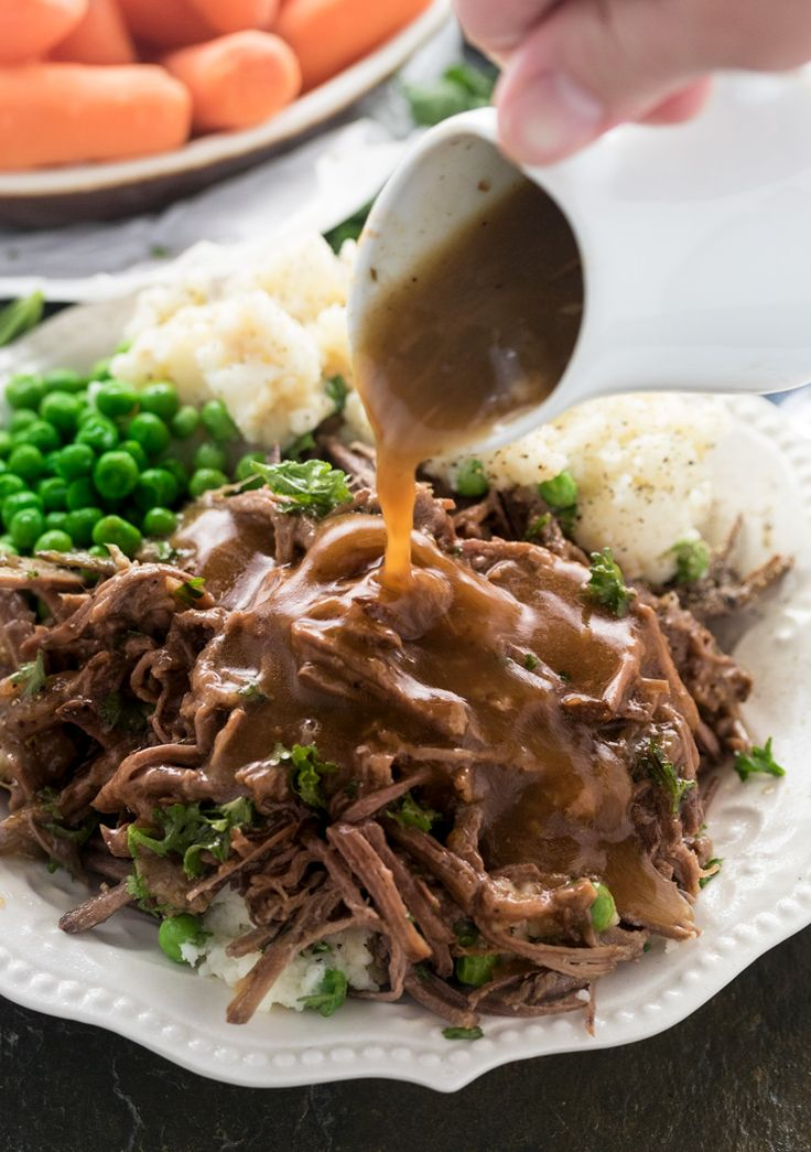 Tender beef slowly simmers in your crock pot with just 4 other ingredients to create the perfect balance of flavors. The juices are then used to make a thick and savory gravy.