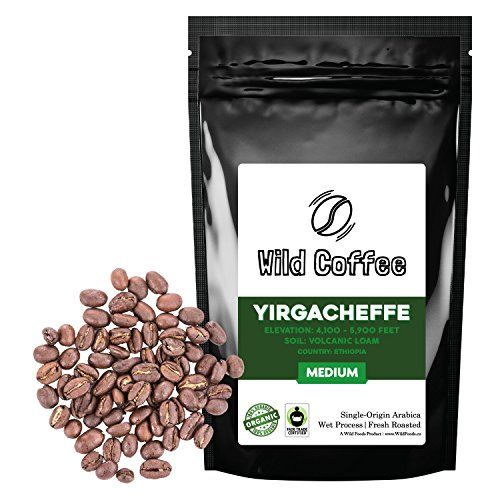 Wild Coffee Whole Bean Organic Yirgacheffe Coffee Fair Trade SingleOrigin 100 Arabica Austin Fresh Roasted 12 ounce * Continue to the product at the image link.