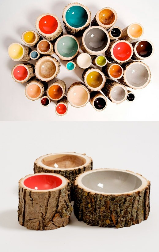 Little log bowls - amazing blend of ceramic and nature. Love this idea...
