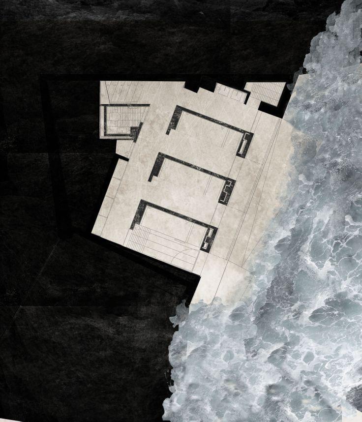 PB.Casa en Corrubedo. David Chiperfield. Composición II. Autocad+Photoshop. Watercolor
