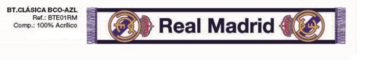 BUFANDA REAL MADRID BLANCA Este artículo lo encontrará en nuestra tienda on line de complementos www.worldmagic.es info@worldmagic.es 951381126 Para lo que necesites a su disposición