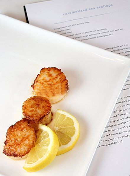 Thomas Keller's recipe for caramelized sea scallops from the ad hoc cookbook is hands down my favorite way to cook scallops - the secret is to clarify the butter first so you get all the flavor and crisp without any burnt spots.