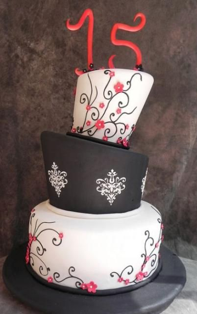 Topsy-turvy 3 tier 15th birthday cake with the number 15 on top in red.JPG