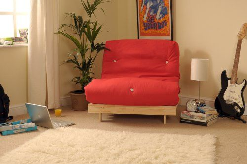 2ft6 Small Single Wooden Futon Set with RED Mattress