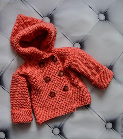 Knitting jacket for kids / Одежда для девочек, ручной работы. Ярмарка Мастеров - ручная работа. Купить Жакет цвета лосось. Handmade. Коралловый, Жакет вязаный