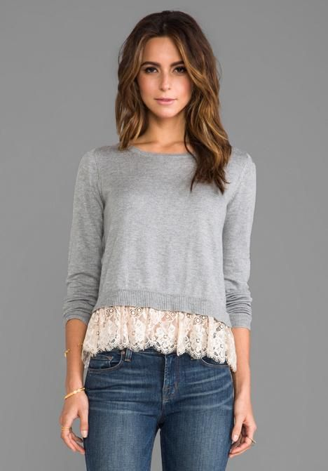 Refashioned Sweater with Lace | DIY ideas to upcycle, recycle restyle any teeshirt, blouse or skirt. Sewing crafts trendy fashion ideas.Nx