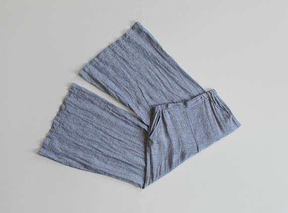 vintage 90s woven cotton palazzo pants   size m