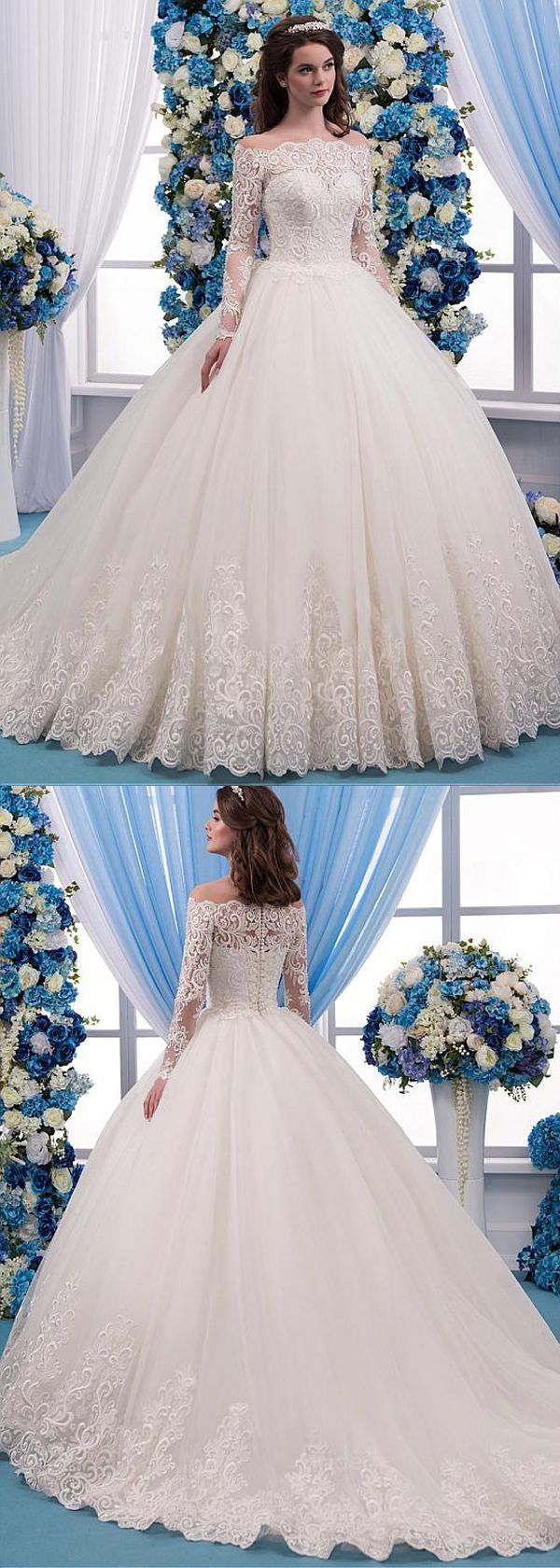 Romantic Tulle Bateau Notch Ball Gown Wedding Dress with Lace Appliques & …