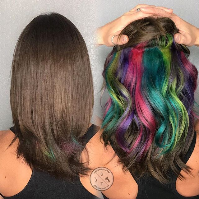 Secret Rainbow Hair color rules at the hospital you work at? Pffffft whatev! Underlights to the rescue! Lightened with Magic Lightener, colored with Arctic Fox. B3 added to all formulas.