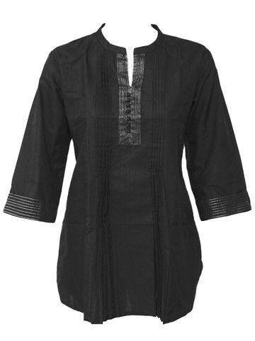 Ethnic Indian Black Cotton Pleated Short Kurta for Women - Kurti Dress Top Tunic Shirt - Silver Thread Lines - 902889