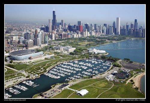 Chicago Skyline with Grant Park and Soldier Field