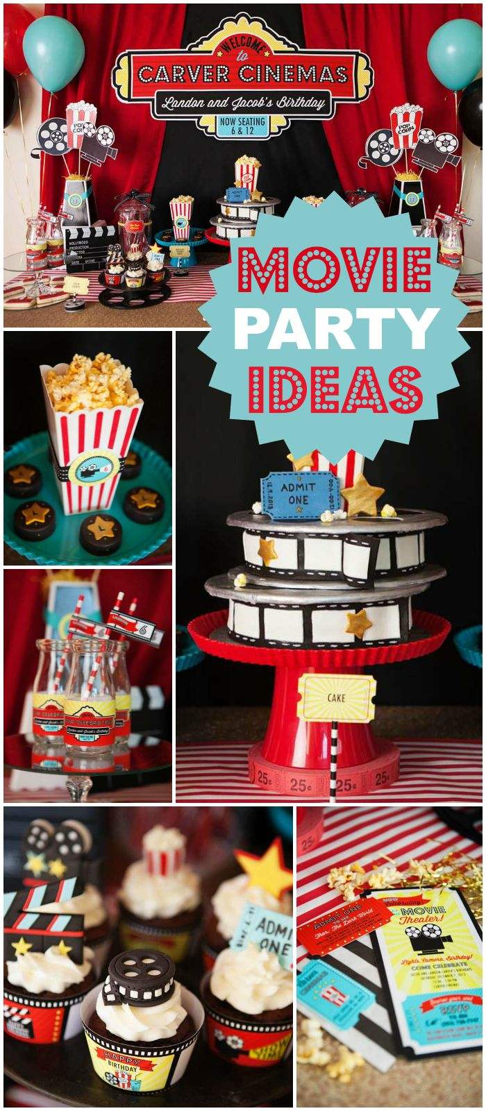 This Hollywood movie party rolls out the red carpet! See more party ideas at CatchMyParty.com!