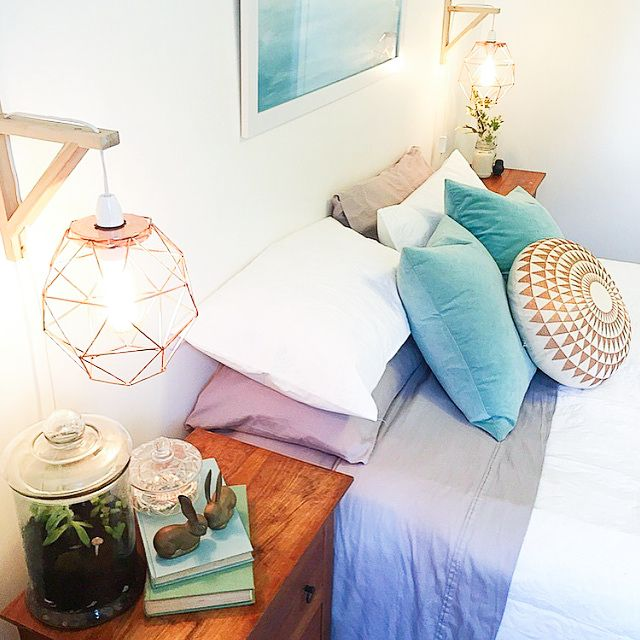 LOOOVE how they made these bedside lamps. Bunnings sell some real fancy corner pieces that could be used. Kmart Hack: Round 2 | Our Urban BoxKmart Hack: Round 2 | Our Urban Box