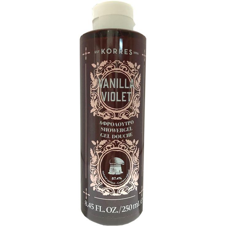 Korres Showergel Vanilla Violet Αφρόλουτρο με Γλυκό Άρωμα από Άνθη Βιολέτας & Ζεστής Βανίλιας 250ml. Μάθετε περισσότερα ΕΔΩ: https://www.pharm24.gr/index.php?main_page=product_info&products_id=13881