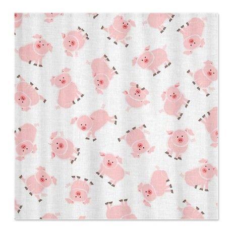 Cute Little Loads of Pink Pigs Shower Curtain