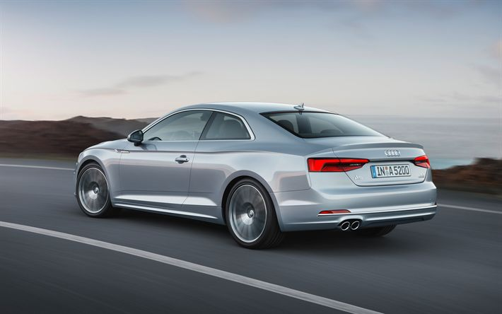 Download wallpapers Audi A5, 2018, 4k, silver coupe, new A5, rear view, German cars, Audi