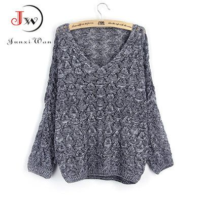 Women Sweaters And Pullovers 2016 New Casual Loose Thin Batwing Sleeve V-neck Spring Autumn Knitted Sweater pull femme WM0017