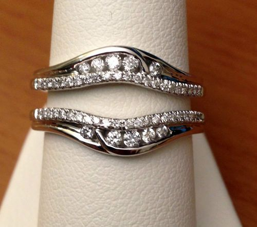 Solitaire Enhancer Round Diamonds Ring Guard Wrap 14k White Gold Wedding Band | eBay