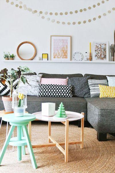 sofa cojines colores