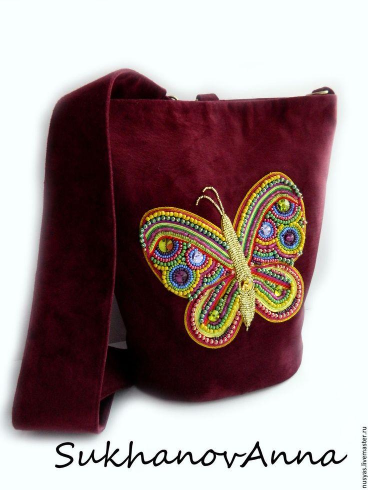 """Купить Сумка-рюкзак """"Бордовый закат"""" - бордовый, сумка с бабочкой, сумка-рюкзак, сумка замшевая"""