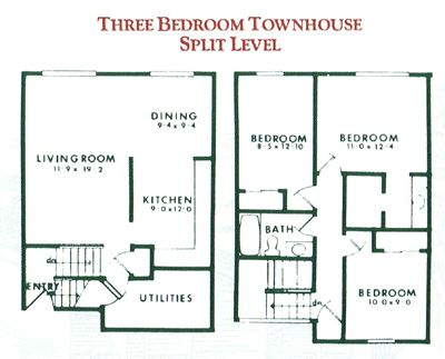 3 Bedroom Townhouse Plan Design Shown Represents The Three Bedroom Split Level Townhouse