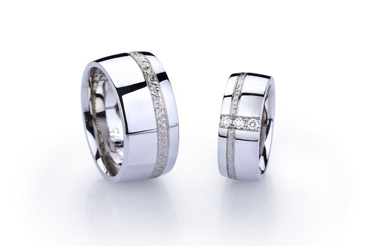 Partnerringe | Eheringe breit aus Palladium mit Weißgold-Einlage und Diamanten