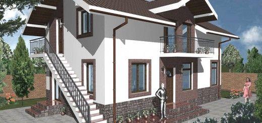 Case cu mansarda si scara exterioara