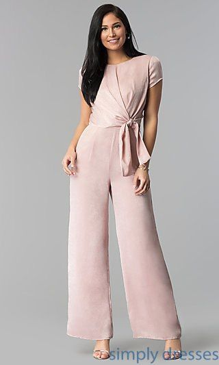 c73a48f24f7 Wide-Leg Short Sleeve Wedding Guest Jumpsuit in 2019
