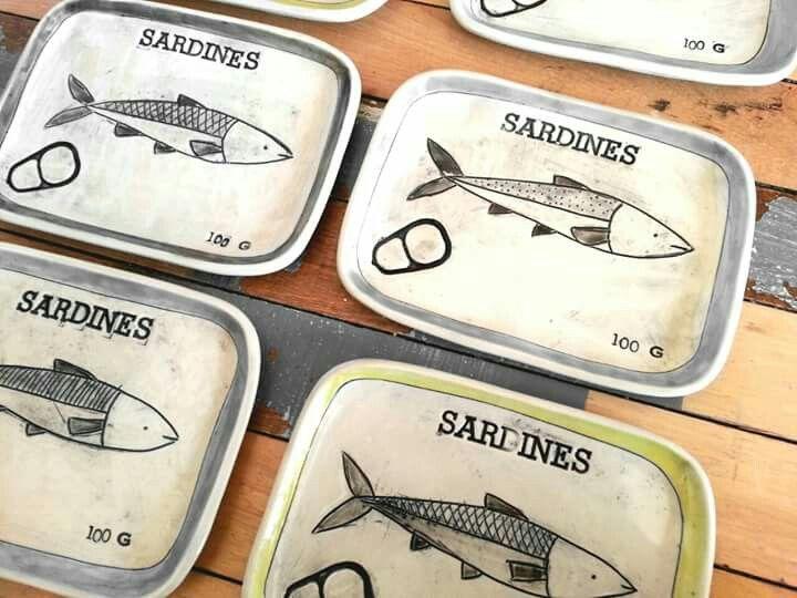 """Petites assiettes """"boite à sardines"""" par KG céramique"""