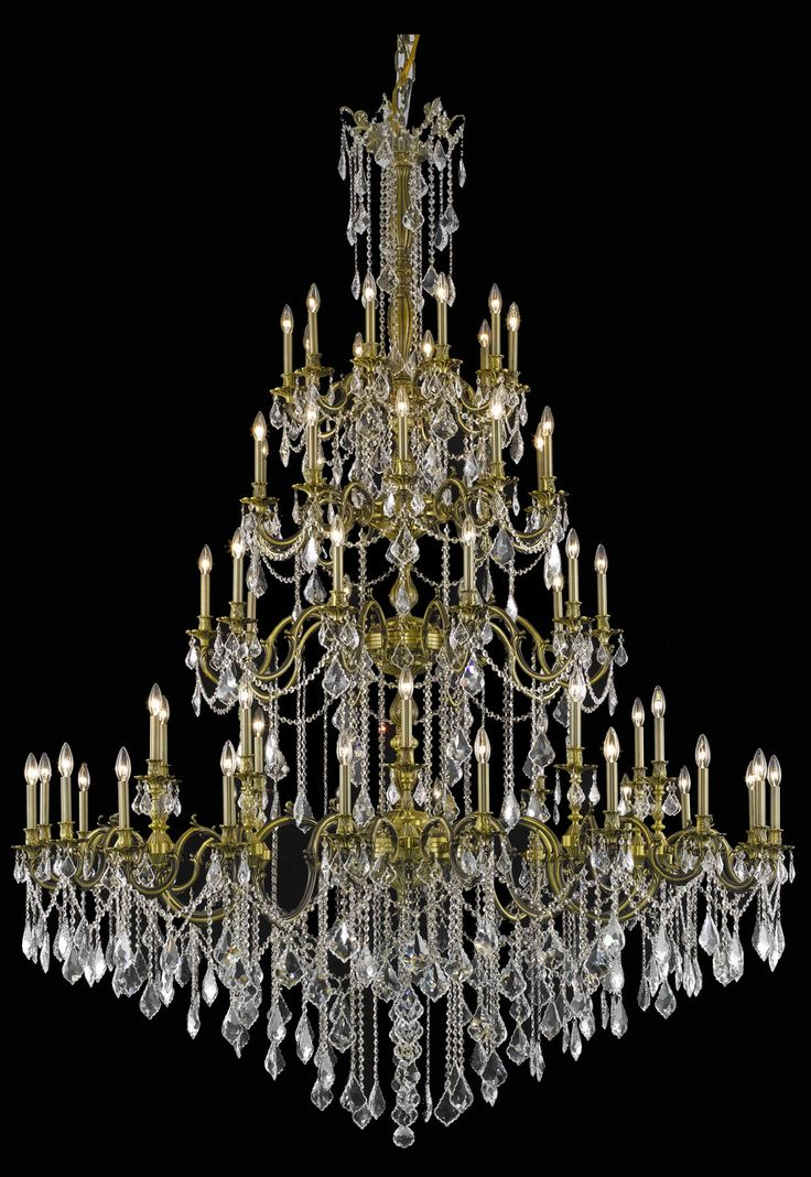 Rosalia 60 Light Crystal Clear Chandelier In Antique