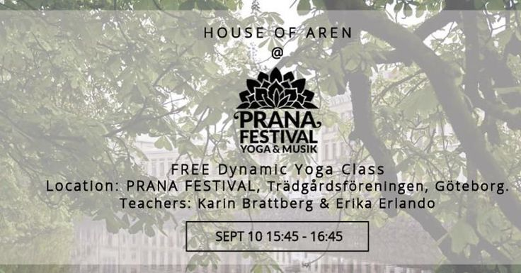 FREE | A chance to enjoy a FREE Dynamic Yoga Class at the @pranafestival   Gothenburg Sweden.  Our teachers @arenyoga_karinbrattberg and @arenyoga_erikaerlando will guide you through a class built of traditional yoga components.  The class is open for all levels. Those who already practice yoga as well as for anyone whom wants to experience the art and science of yoga.  Pick up your FREE ticket from the PRANA front desk on Sunday September 10 from 14:45.  Bring your own matt a blanket or…