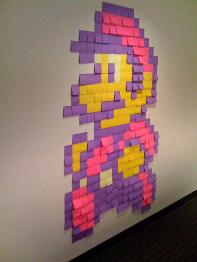 Made with post it notes. There is also more Mario ones and Zelda and Pokemon ones in this gallery