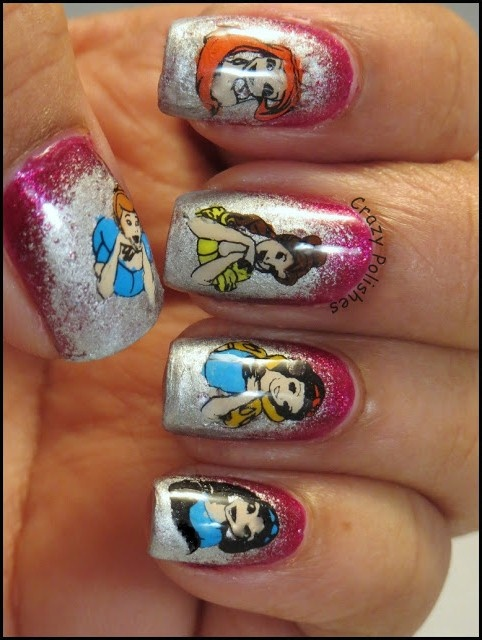 Disney Princesses Manicure Nail Design - use templates.  It is good for your kid's party!