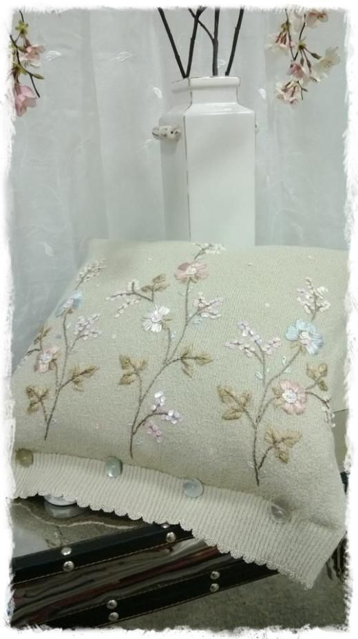 Sewing & Reaping | Things to Love  Take one granny cardi top and turn it in to a cushion ~ Joeyanne