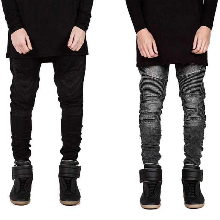 Мужские Узкие джинсы мужчин 2016 Взлетно-Посадочной Полосы Проблемные тонкий эластичные джинсы denim Байкер джинсы хип-хоп брюки Промытые черные джинсы для мужчин синий