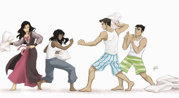 Team Avatar - pillow fight by Lukia-Lokelani (I would think Bolin would be right there smacking Asami in the face. )