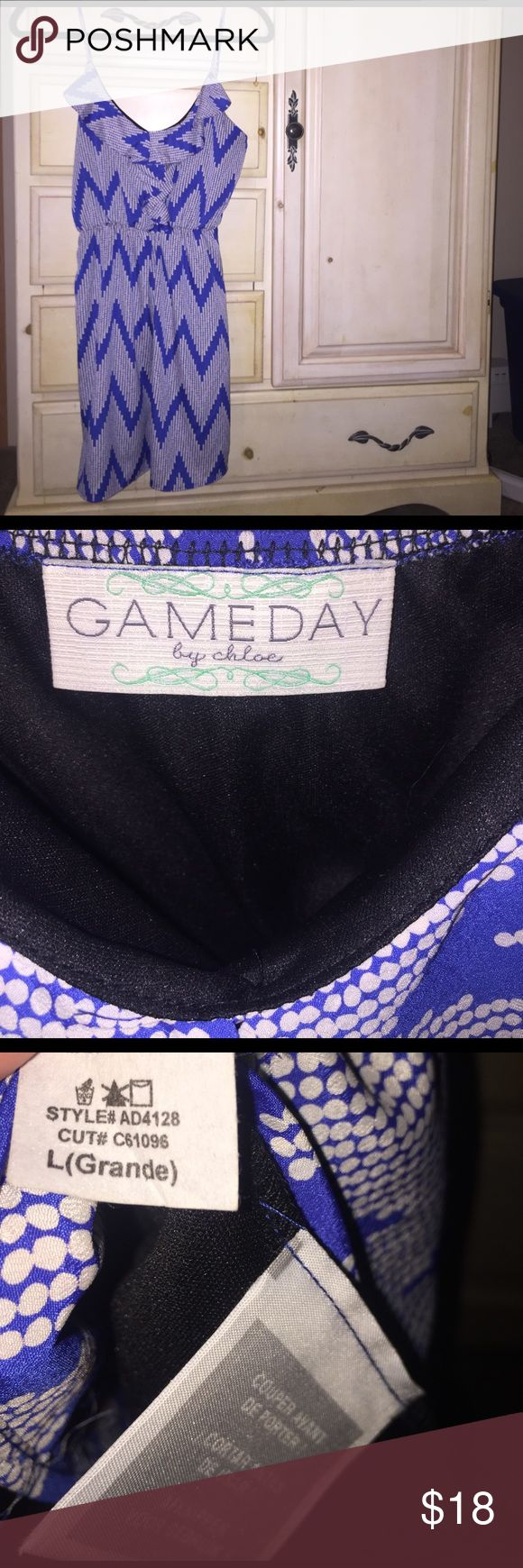 Gameday by Chole blue chevron dress size L Gameday by Chole blue and white chevron patterned dress size L. Gently worn Gameday by Chloe Dresses