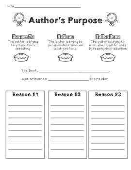 Author's Purpose providing evidence   Authors purpose ...