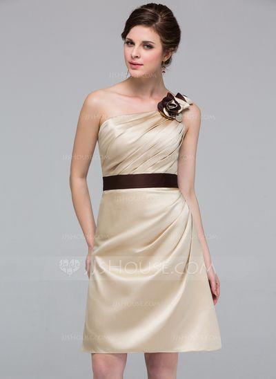 Bridesmaid Dresses - $99.99 - Sheath One-Shoulder Knee-Length Satin Bridesmaid Dress With Ruffle Sash Flower(s) (007037240) http://jjshouse.com/Sheath-One-Shoulder-Knee-Length-Satin-Bridesmaid-Dress-With-Ruffle-Sash-Flower-S-007037240-g37240?ver=xdegc7h0