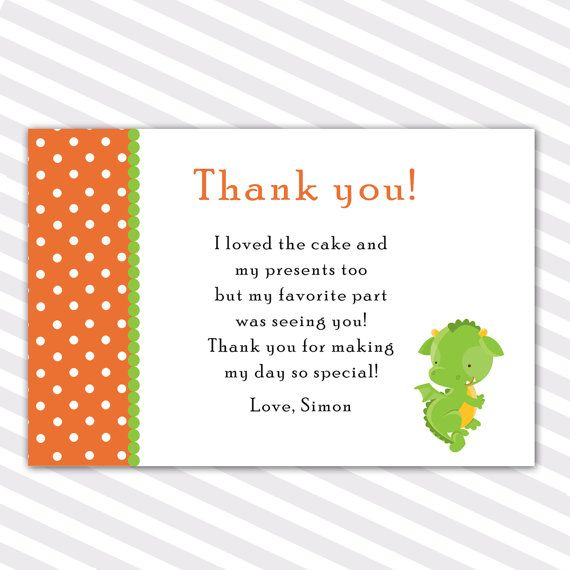 101 best party thank you cards images on pinterest appreciation birthday party thank you cards note orange polka dots green dragon thank you cards printable bookmarktalkfo Gallery