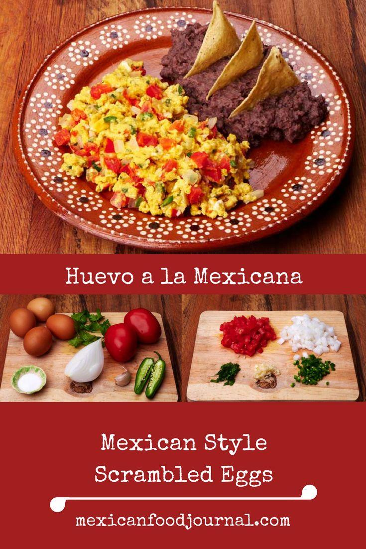 Recipe forhuevo a la Mexicana, a classic Mexican breakfast dish prepared with scrambled eggs, tomato, onion and serrano chile.