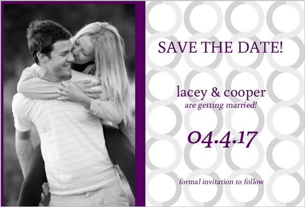 Plum and Silver  Save the Date Announcement