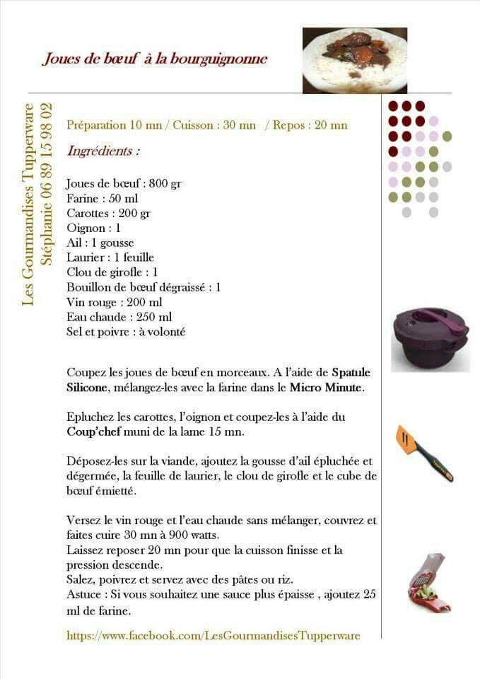 Tupperware - Joue de boeuf à la bourguignonne