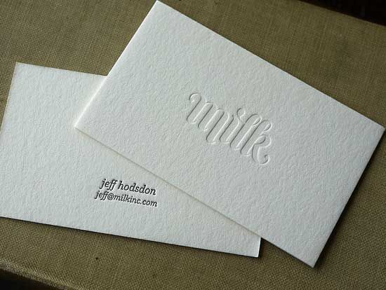 white minimalistic letterpress business cards with blind deboss