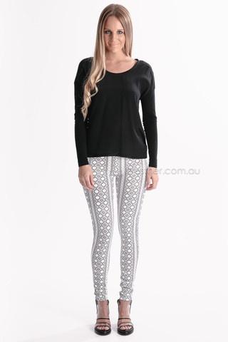 borders edge leggings - white/black