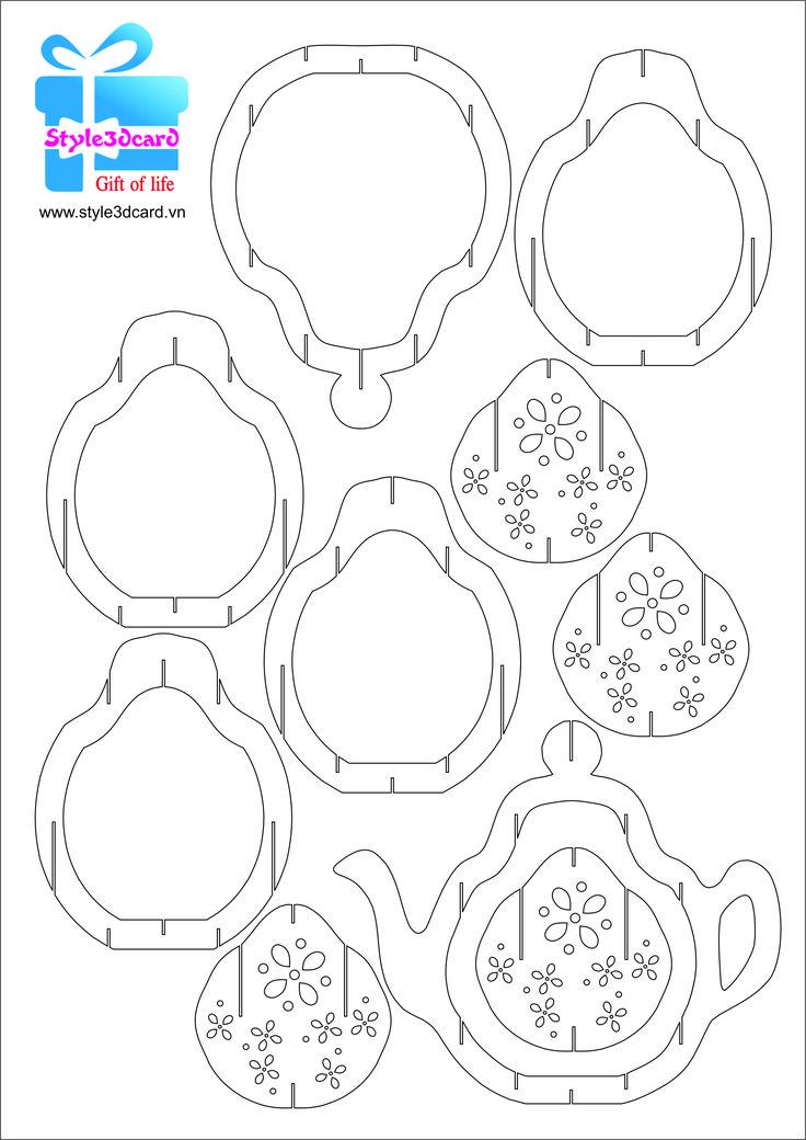 Tea-pot-3d-pop-up-greeting-card pattern