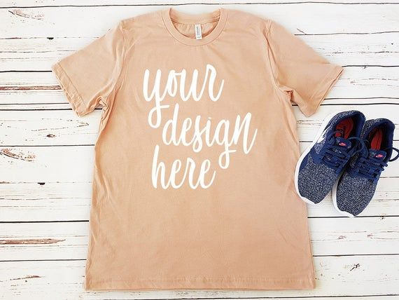 Free Peach T Shirt Mockup Clothing Flat Lay Unisex Shirt Bella Psd The Biggest Source Of Free Photorealistic Appar Clothing Mockup Shirt Mockup Tshirt Mockup