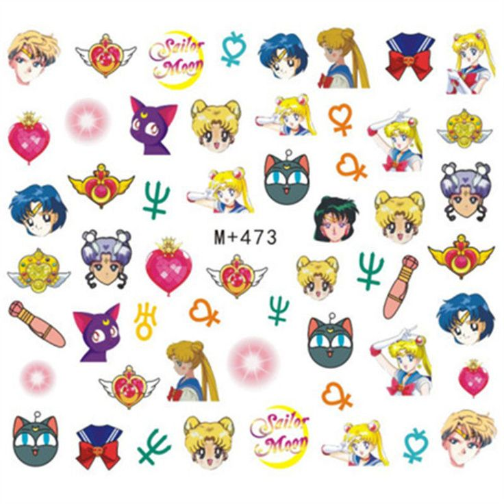 50 Sailor Moon Cartoon Transfers Decals Water Nail Art Sticker for Nail Polish #Unbranded