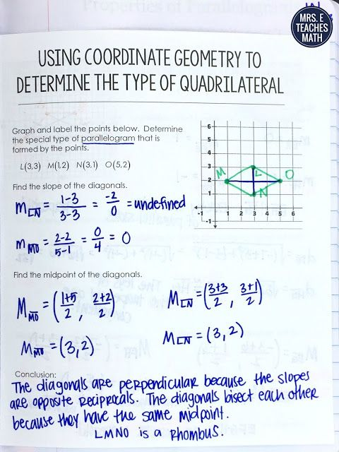 interactive notebook page idea for quadrilaterals on the coordinate plane - free download