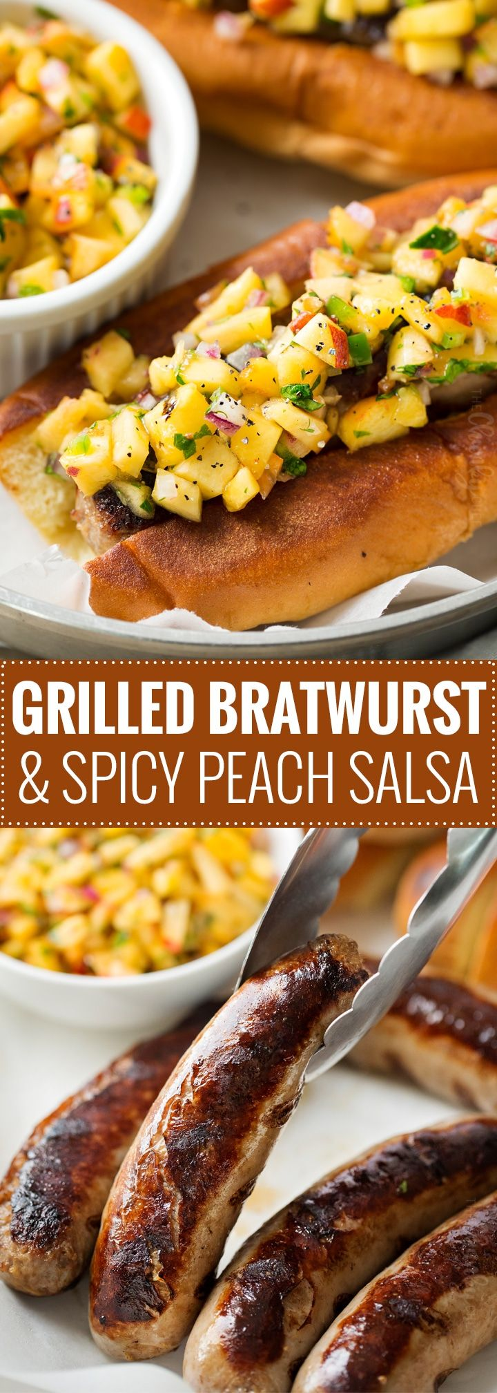 Grilled Bratwurst with Spicy Peach Salsa | No more boring brat toppings here... serve up your traditional grilled beer brats with this habanero peach salsa and prepare to be amazed! Plus, tips for how to serve these brats when grilling isn't an option. | http://thechunkychef.com